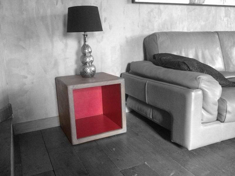 Cubes multifonctions en b ton cir table beton for Table de nuit rose