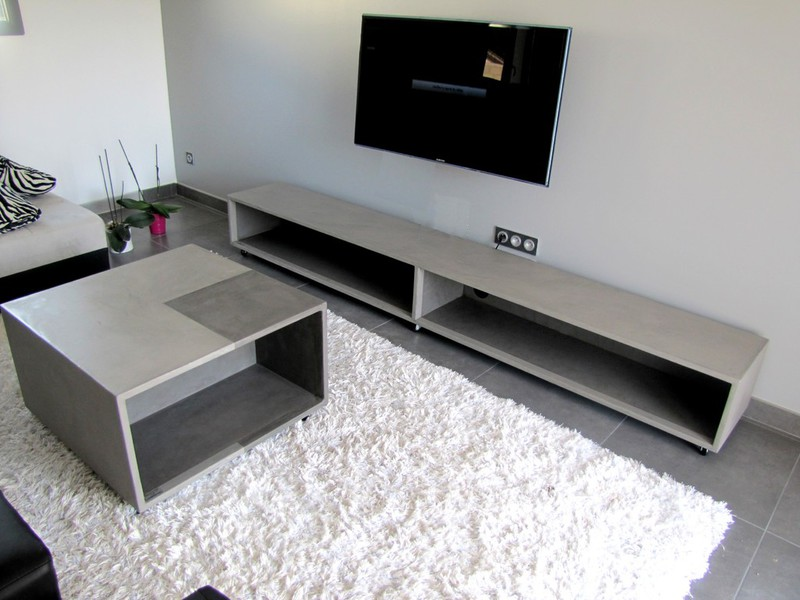 TableBetonCireCom Par StucCo  Meubles Tv Bton Cir